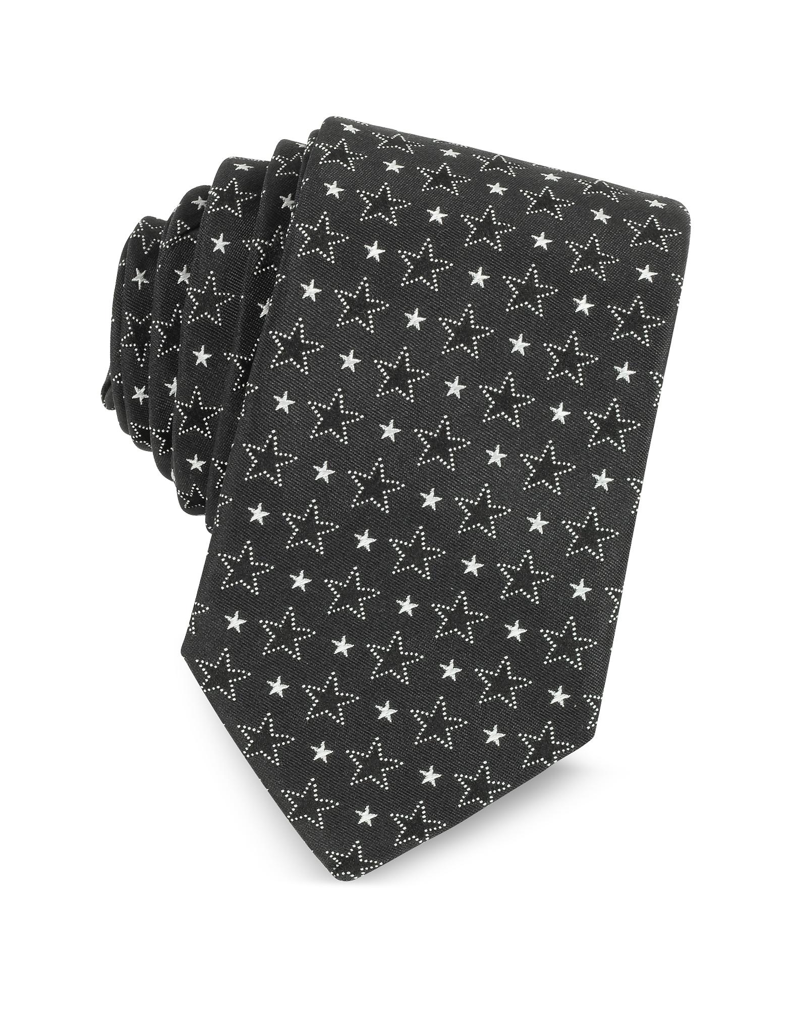 Черно-Белый Узкий Шелковый Галстук с Принтом Звезд