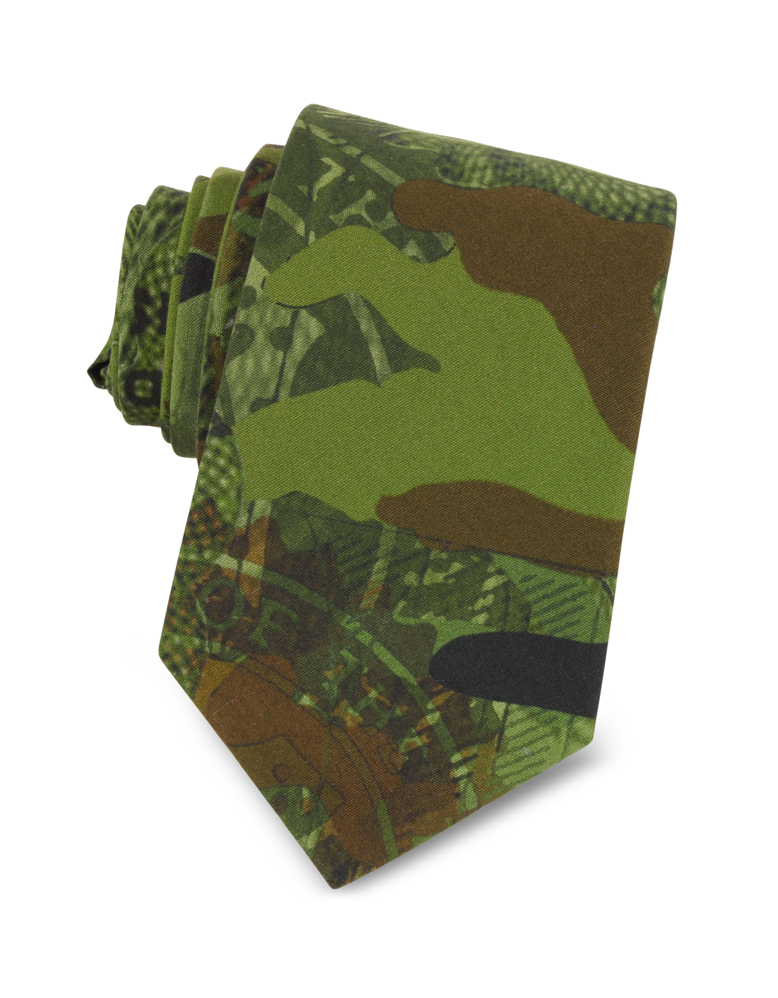 Image of Green Camouflage and Money Printed Cotton Narrow Tie