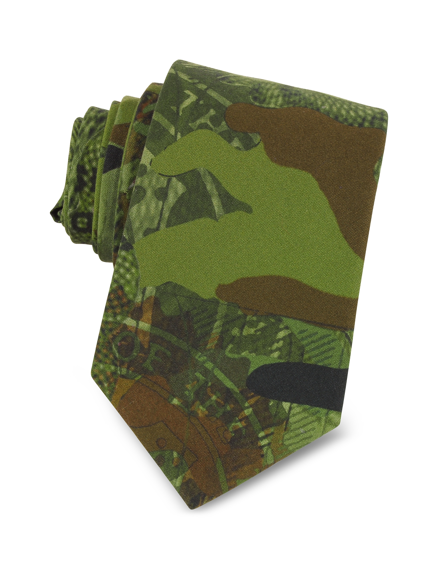 Green Camouflage and Money Printed Cotton Narrow Tie