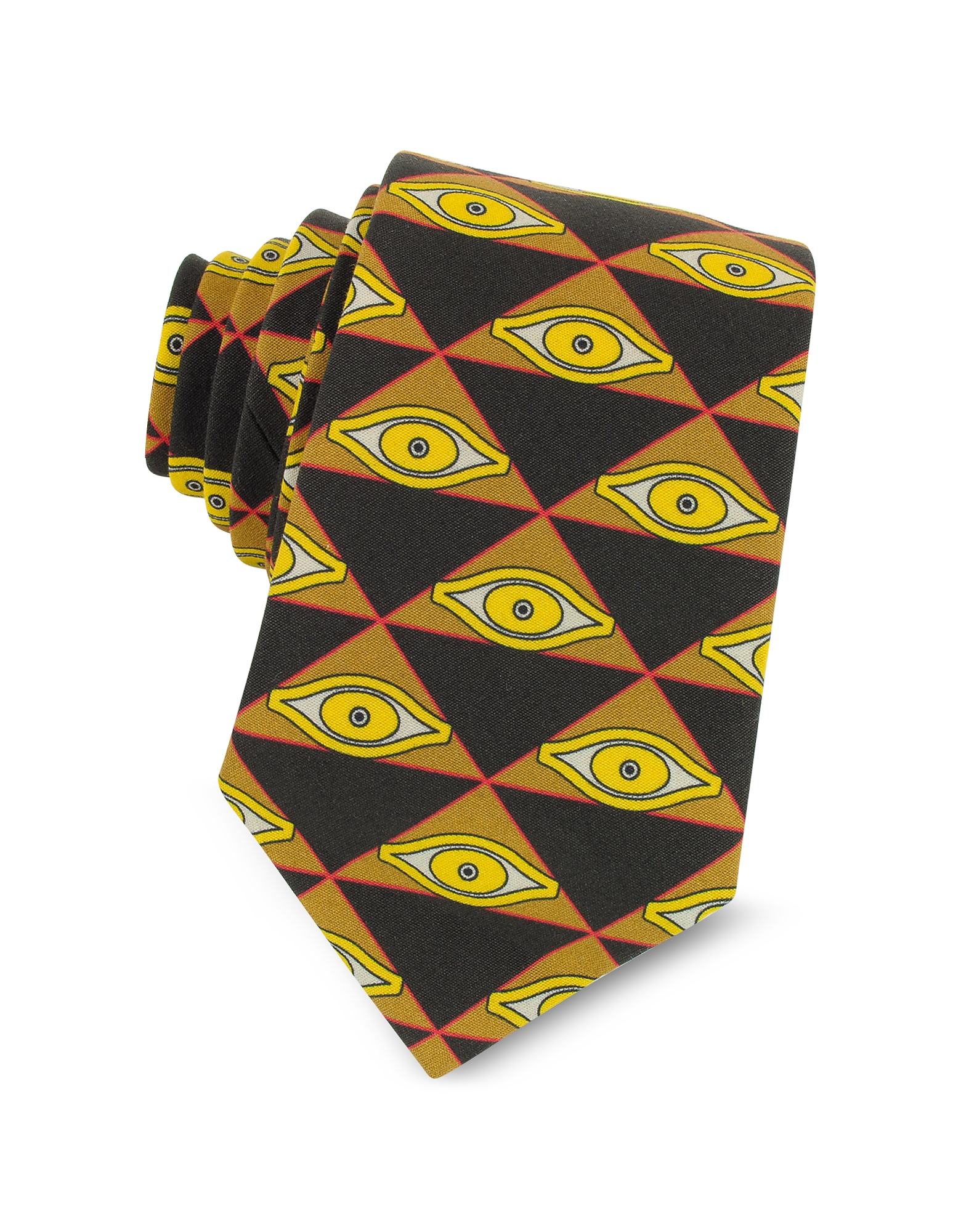 Eyes and Triangles Printed Cotton Narrow Tie, Black