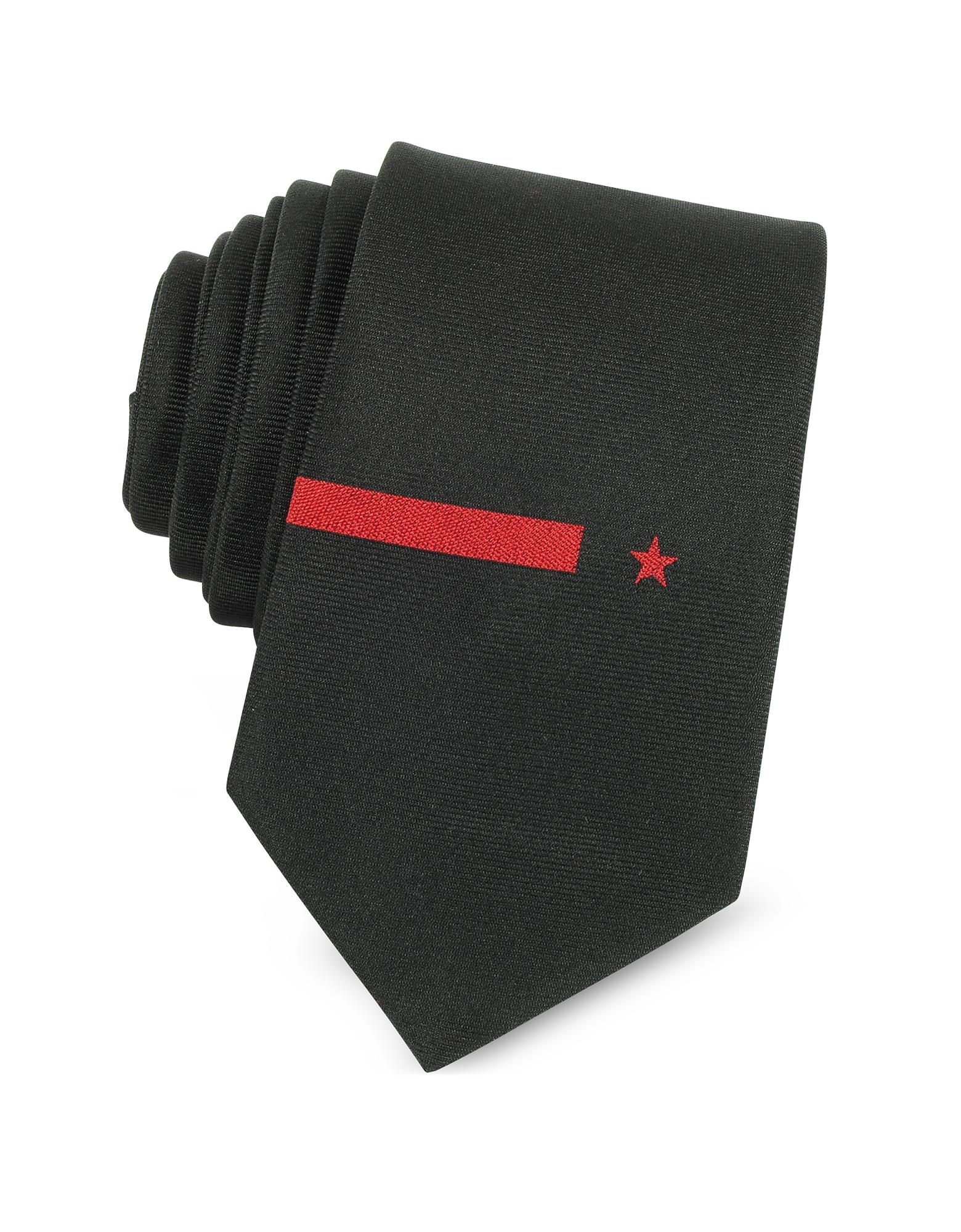 Черный Однотонный Узкий Галстук из Твилового Шелка с Красными Звездой и Полоской