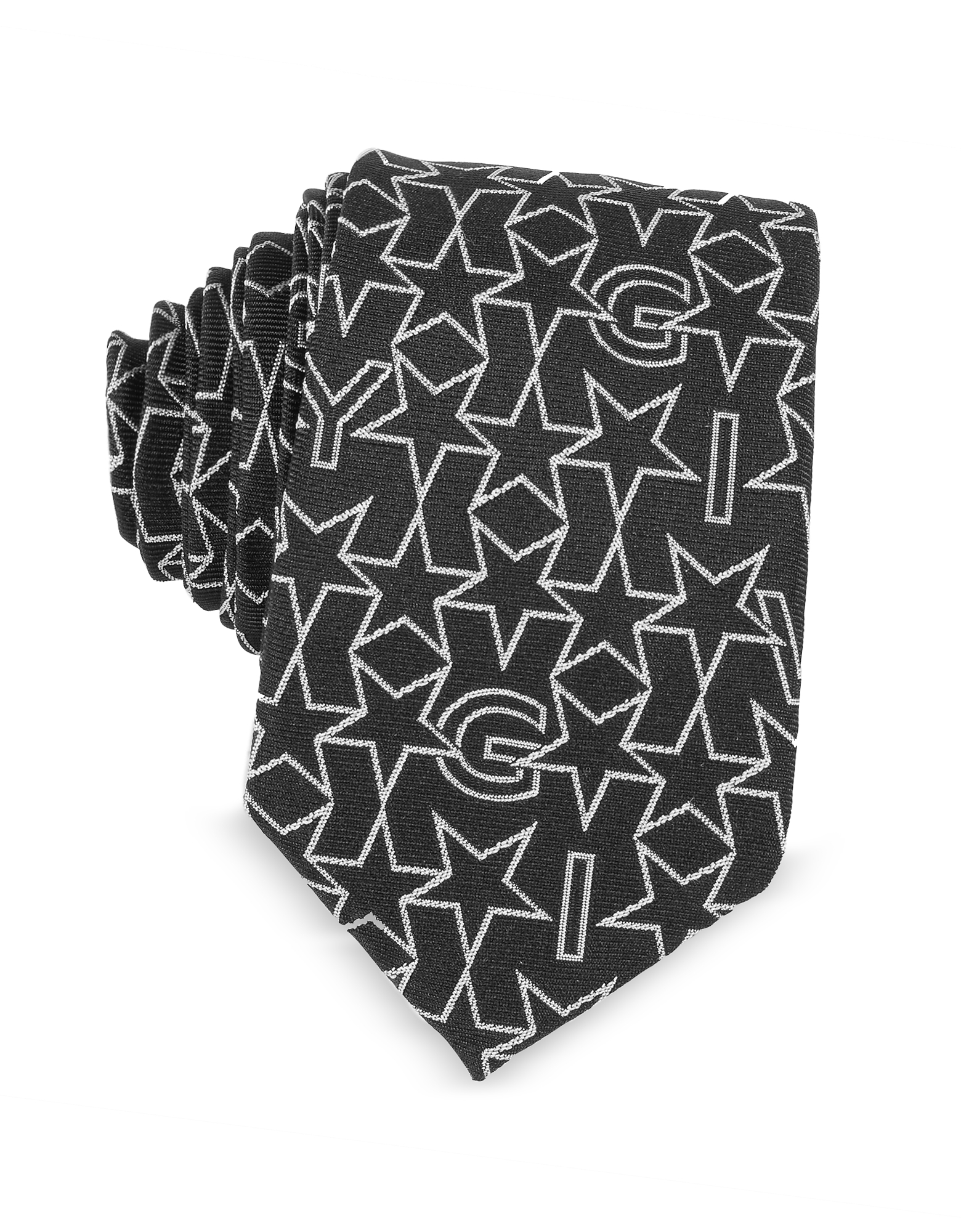Givenchy Ties, Black Silk Narrow Tie w/Silver Woven Stars