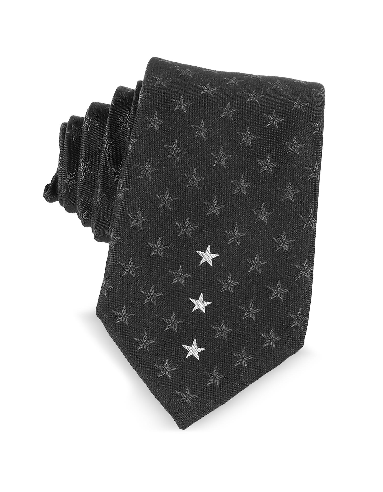 Узкий Черный Галстук с Текстурными Звездами