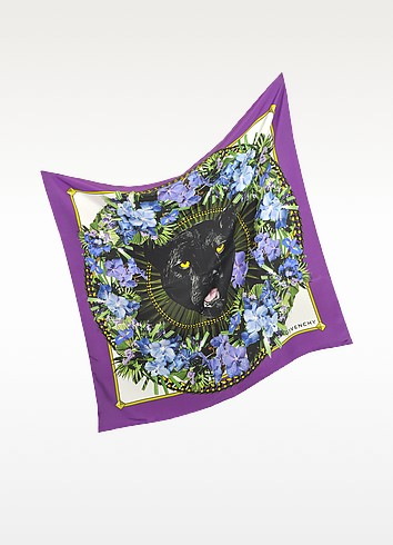 Wreathed Panther Silk Square Scarf - Givenchy