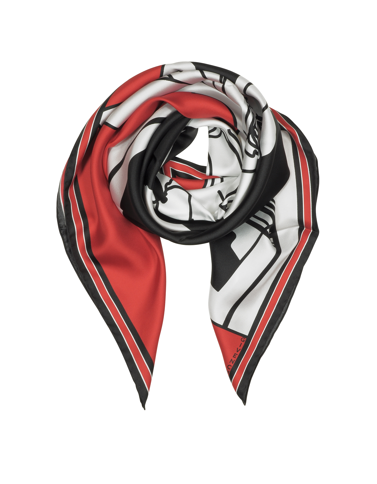 Givenchy Square Scarves, Bambi Print Red Silk Square Scarf