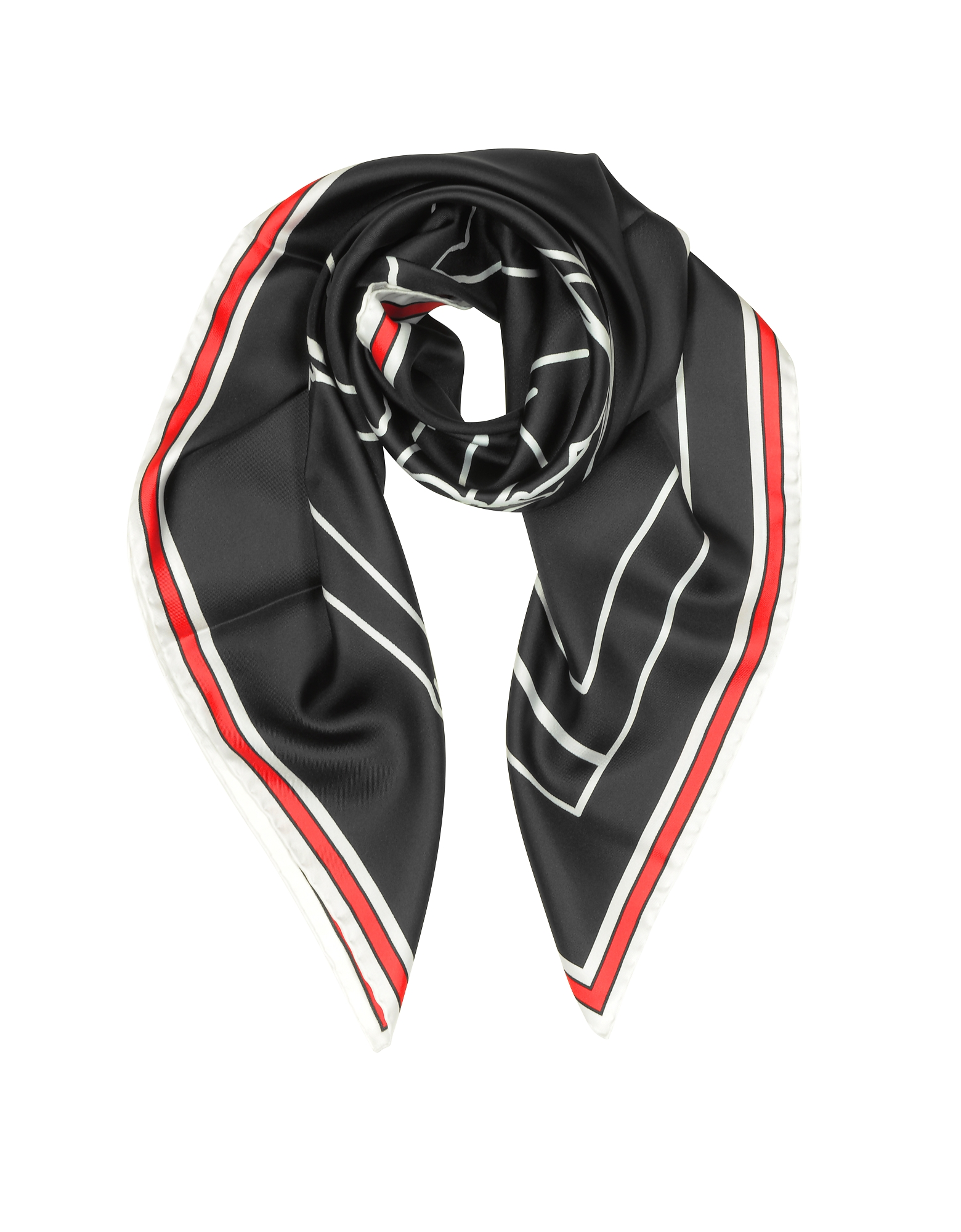 Givenchy Square Scarves, Bambi Print Black Silk Square Scarf