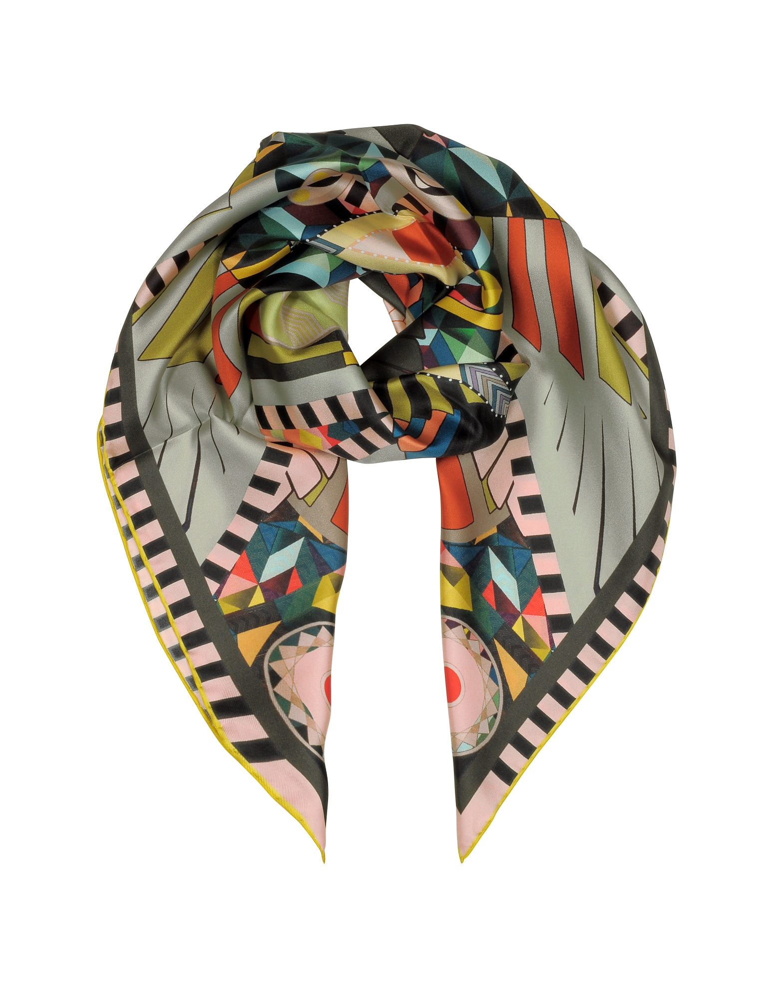 Givenchy Square Scarves, Multicolor Printed Silk Square Scarf