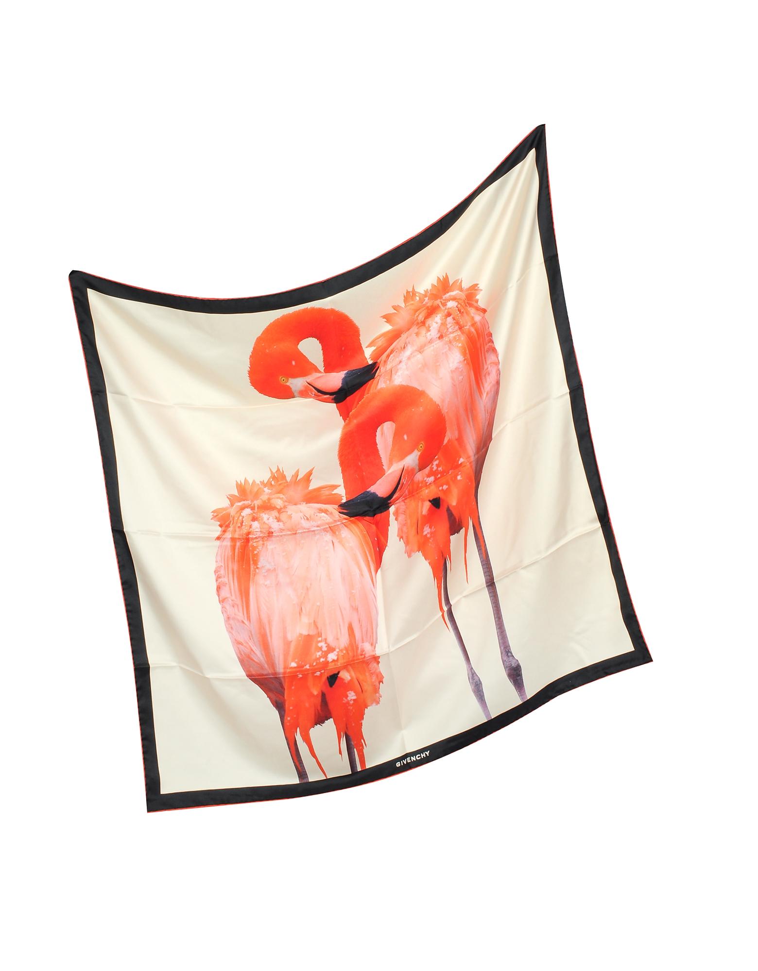 Flamingo Print Silk Square Scarf от Forzieri.com INT