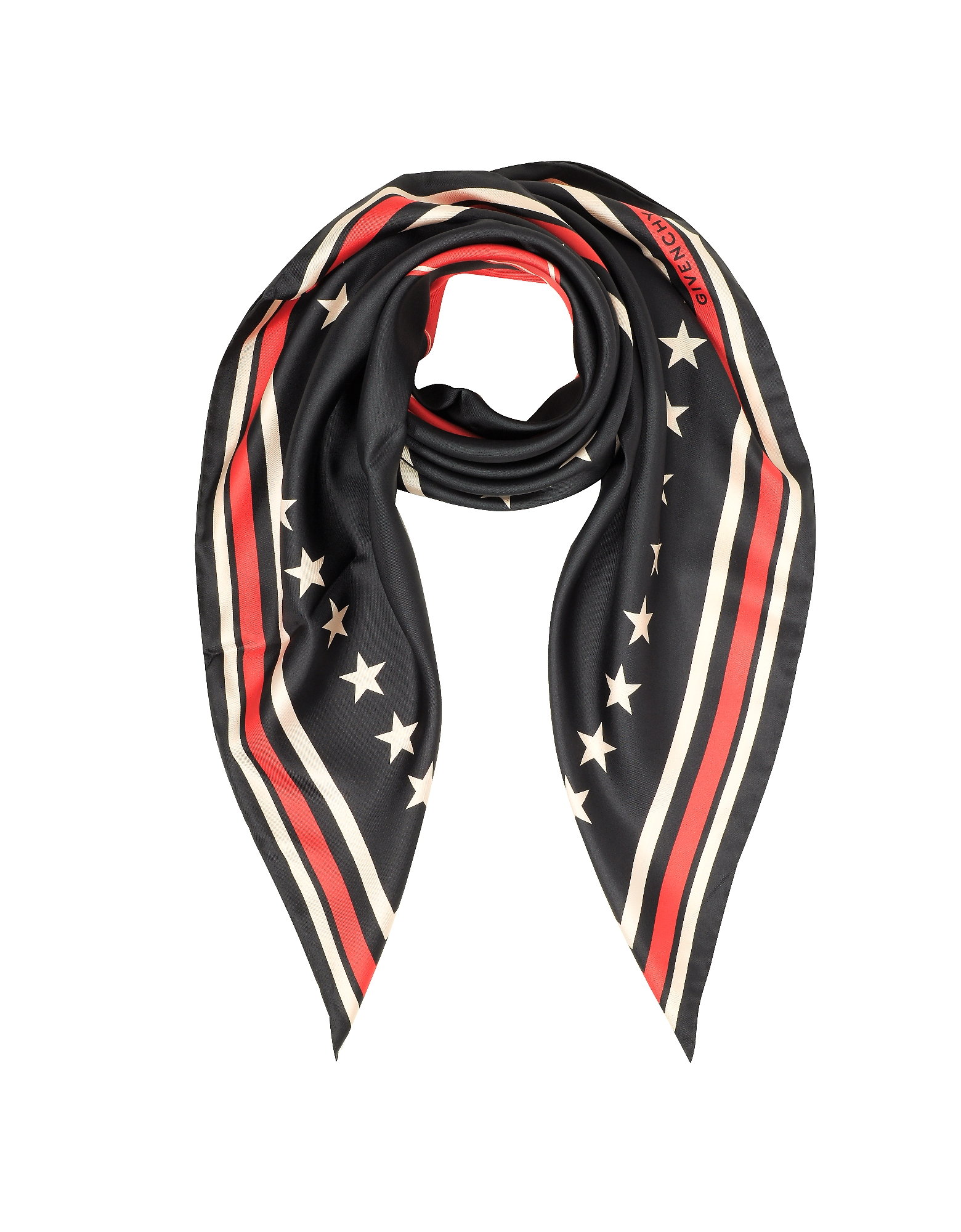 Givenchy Square Scarves, 17 Stars Print Silk Square Scarf