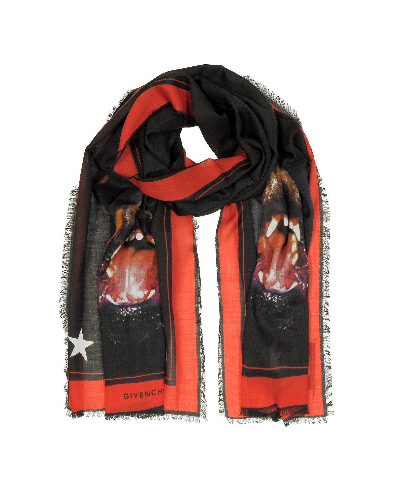 Givenchy Long Scarves, Rottweiler Printed Cashmere and Silk Stole