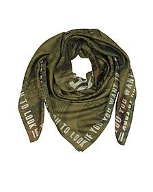 Зеленая Накидка из Хлопка и Шелка с Логотипом - Givenchy
