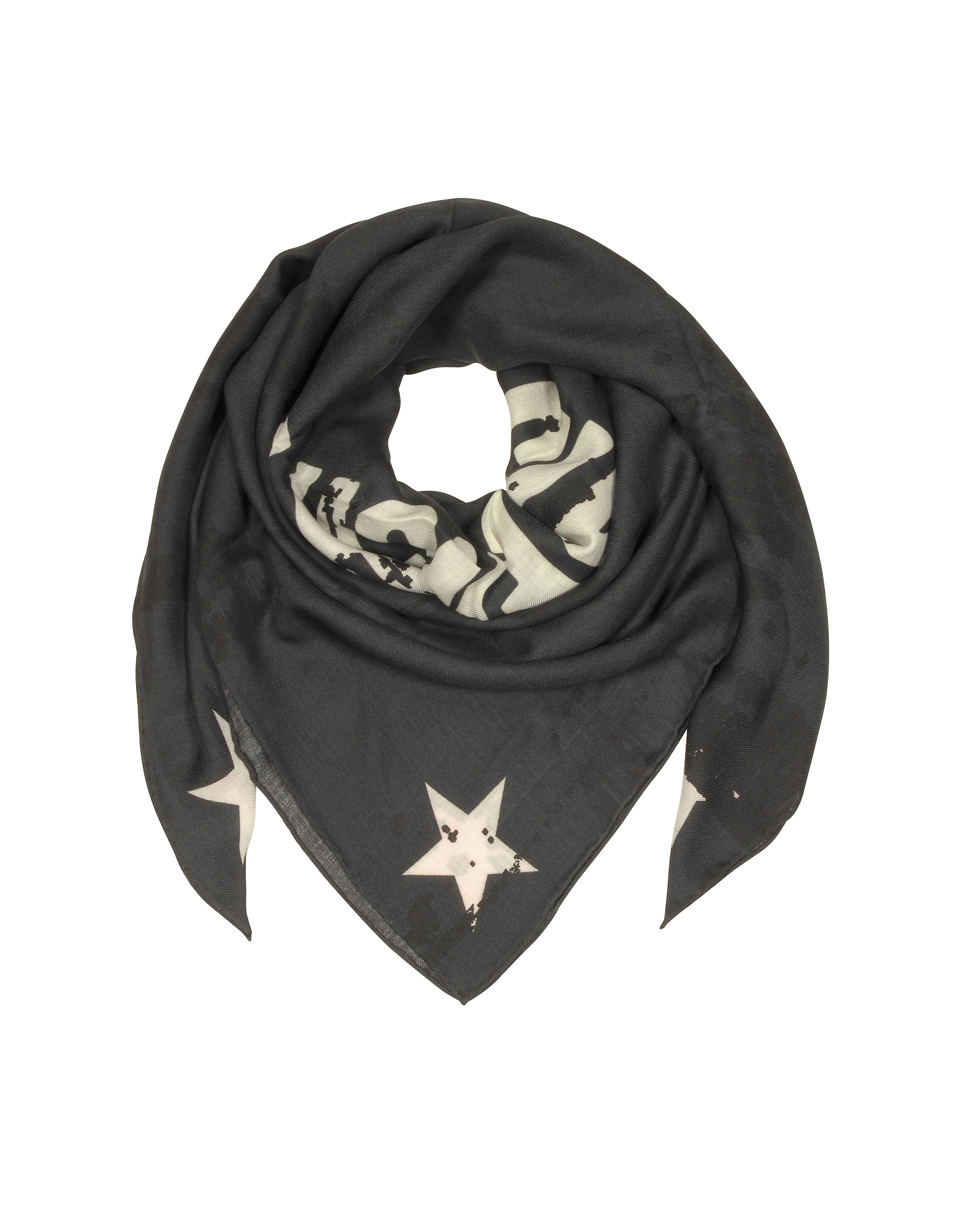 Givenchy Shawls & Wraps, Black Wool and Silk Signature Print Wrap