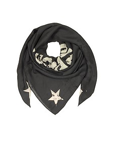 Black Wool and Silk Signature Print Wrap - Givenchy