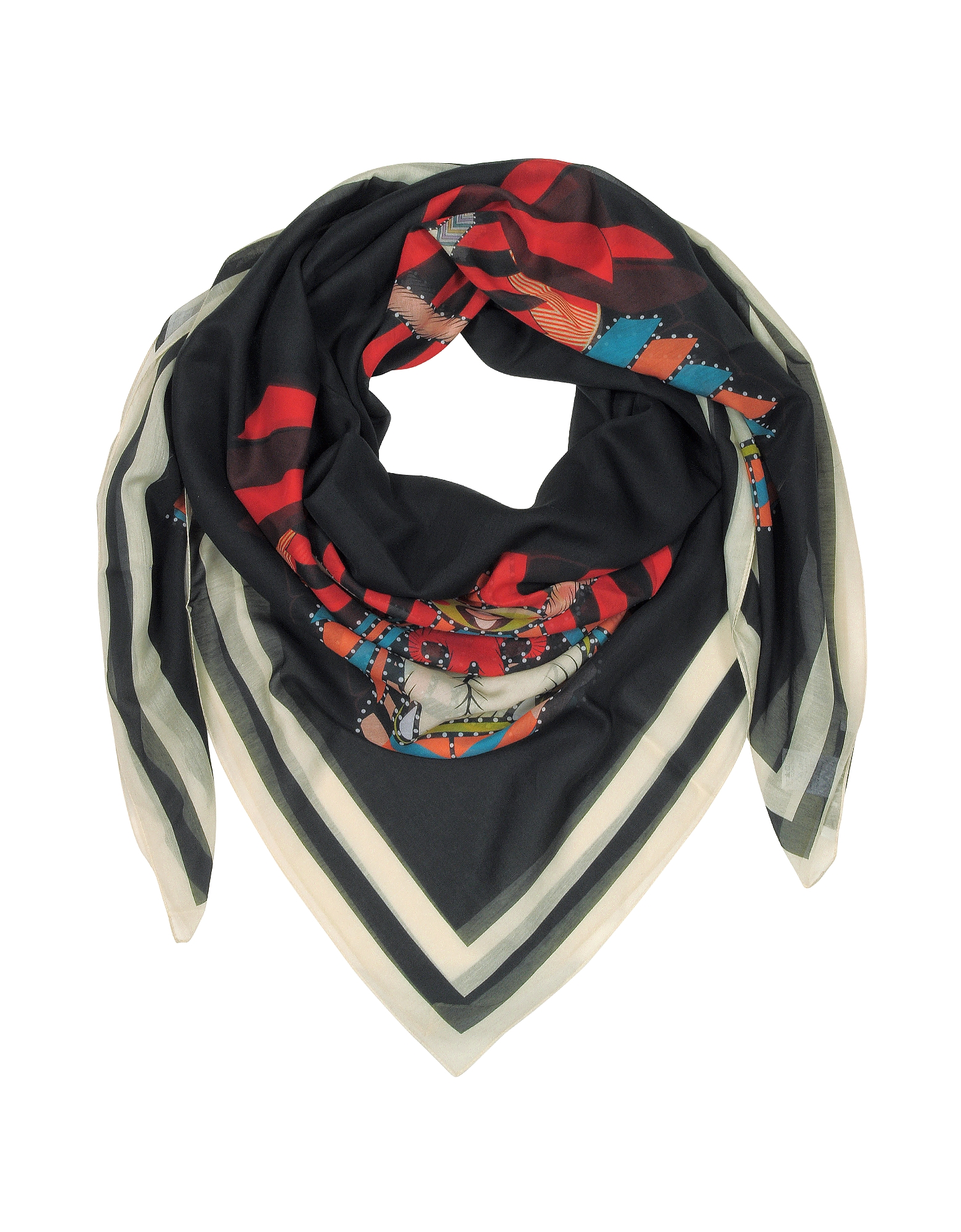 Givenchy Shawls & Wraps, Geometric Rottweiler Printed Cotton and Silk Stole