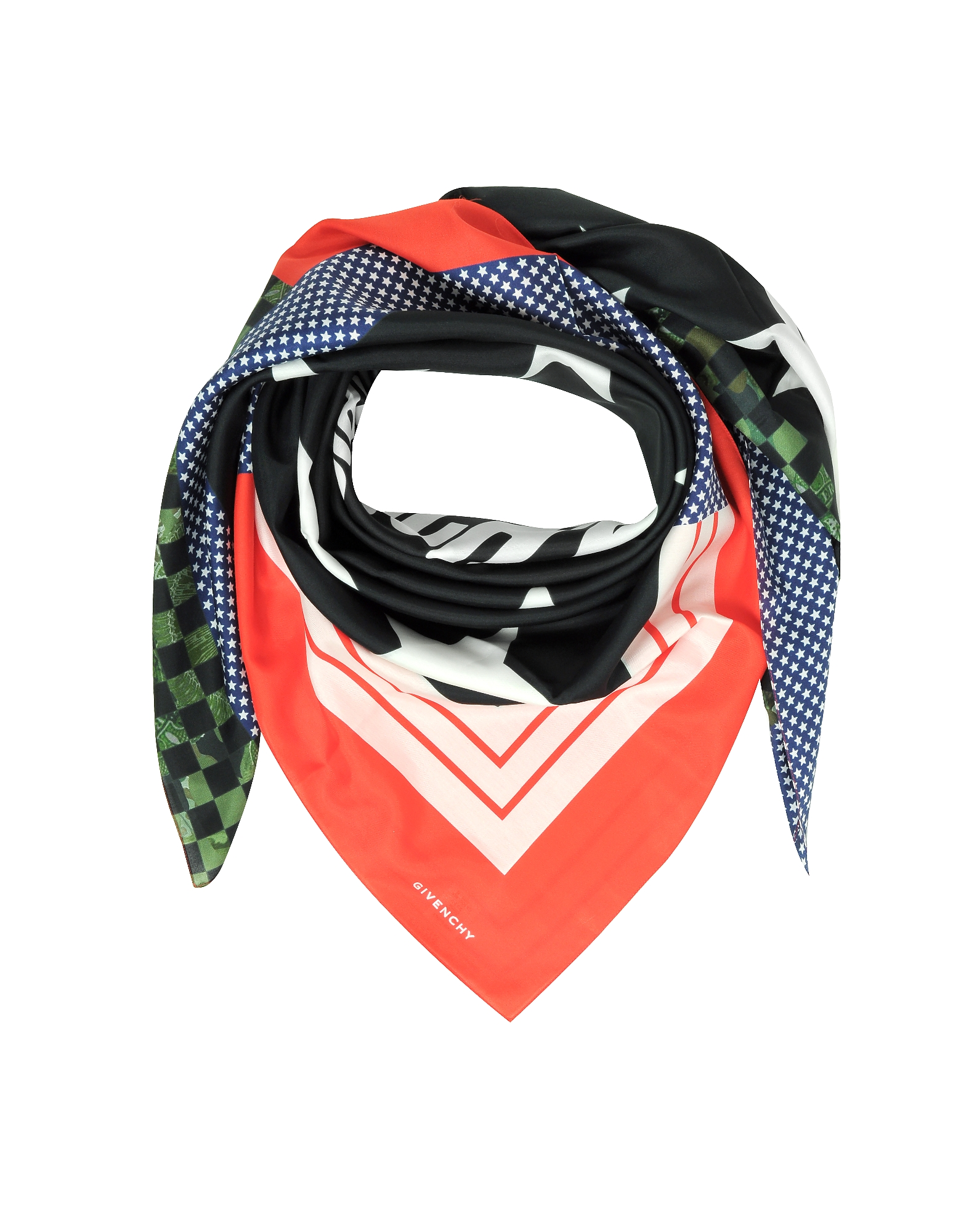 Givenchy Men's Scarves, Patchwork and Signature Printed Cotton and Silk Wrap