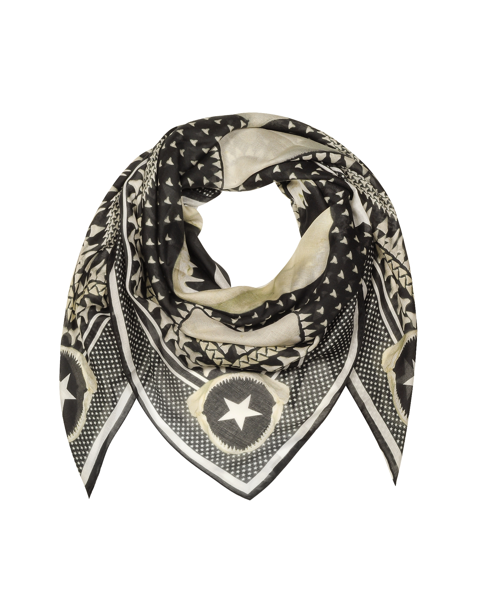 Givenchy Men's Scarves, Black and White Modal and Cashmere Wrap