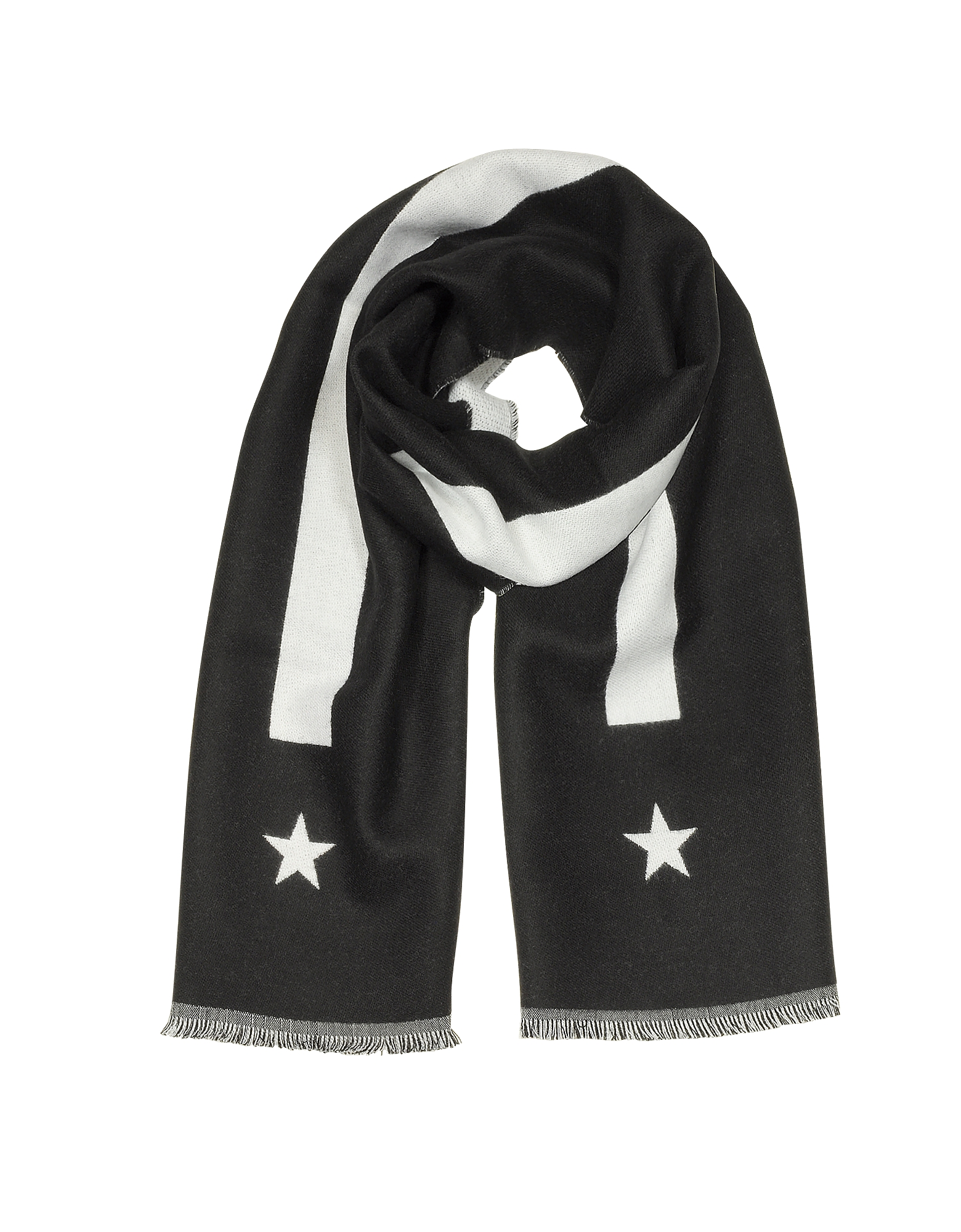 Stripe and Star-Intarsia Black Wool Long Scarf