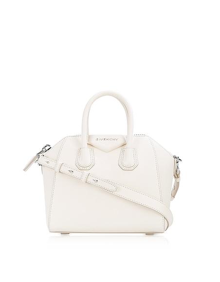 Givenchy Antigona - Mini Sac à Main en Cuir Blanc Cassé