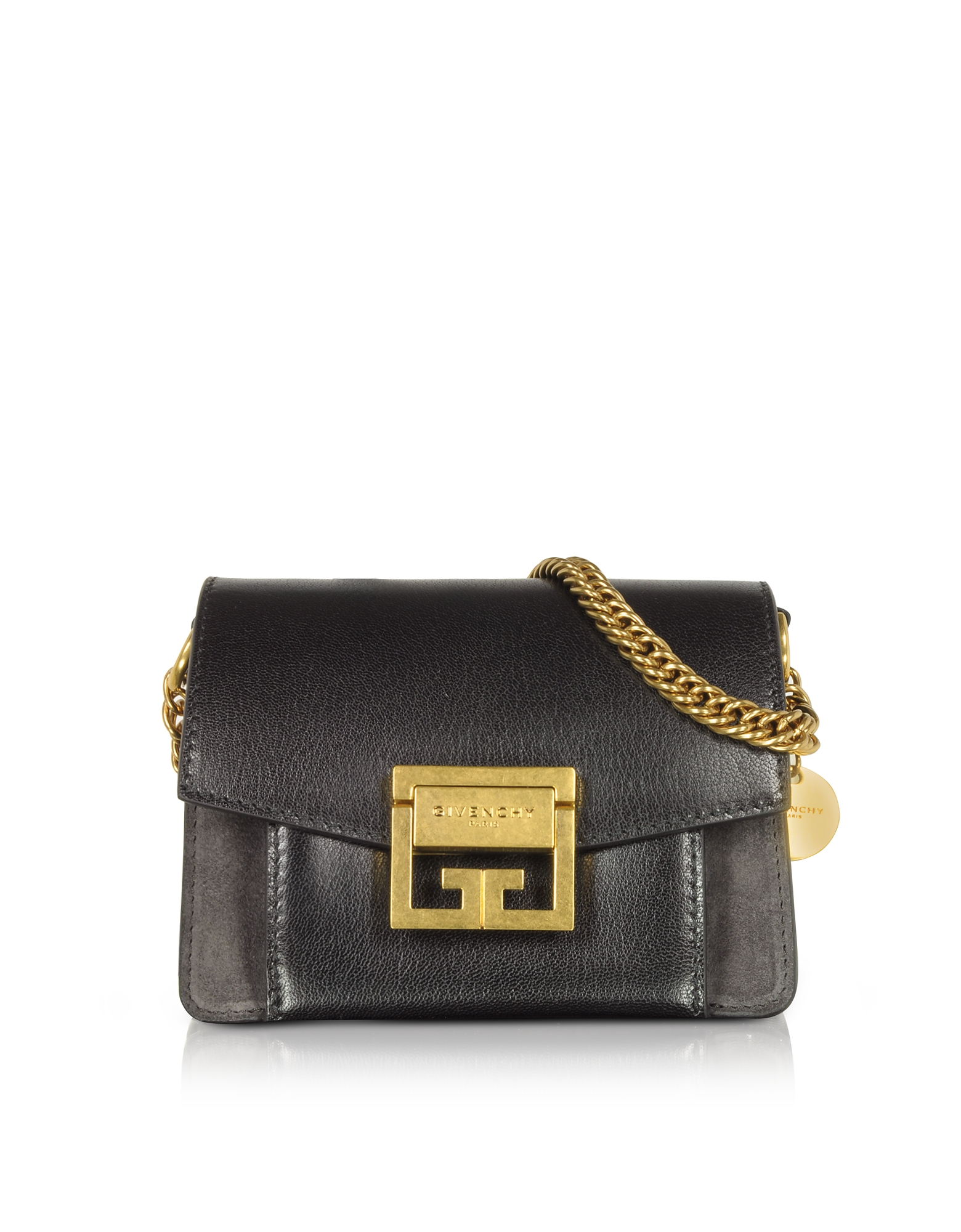 Givenchy Handbags, Mini GV3 Color Block Grained Leather Flat Shoulder Bag