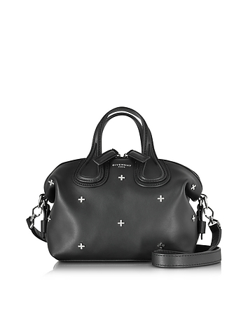 Nightingale Micro Black Leather Satchel Bag w/Metal Cross