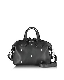 Nightingale Micro Black Leather Satchel Bag w/Metal Cross - Givenchy