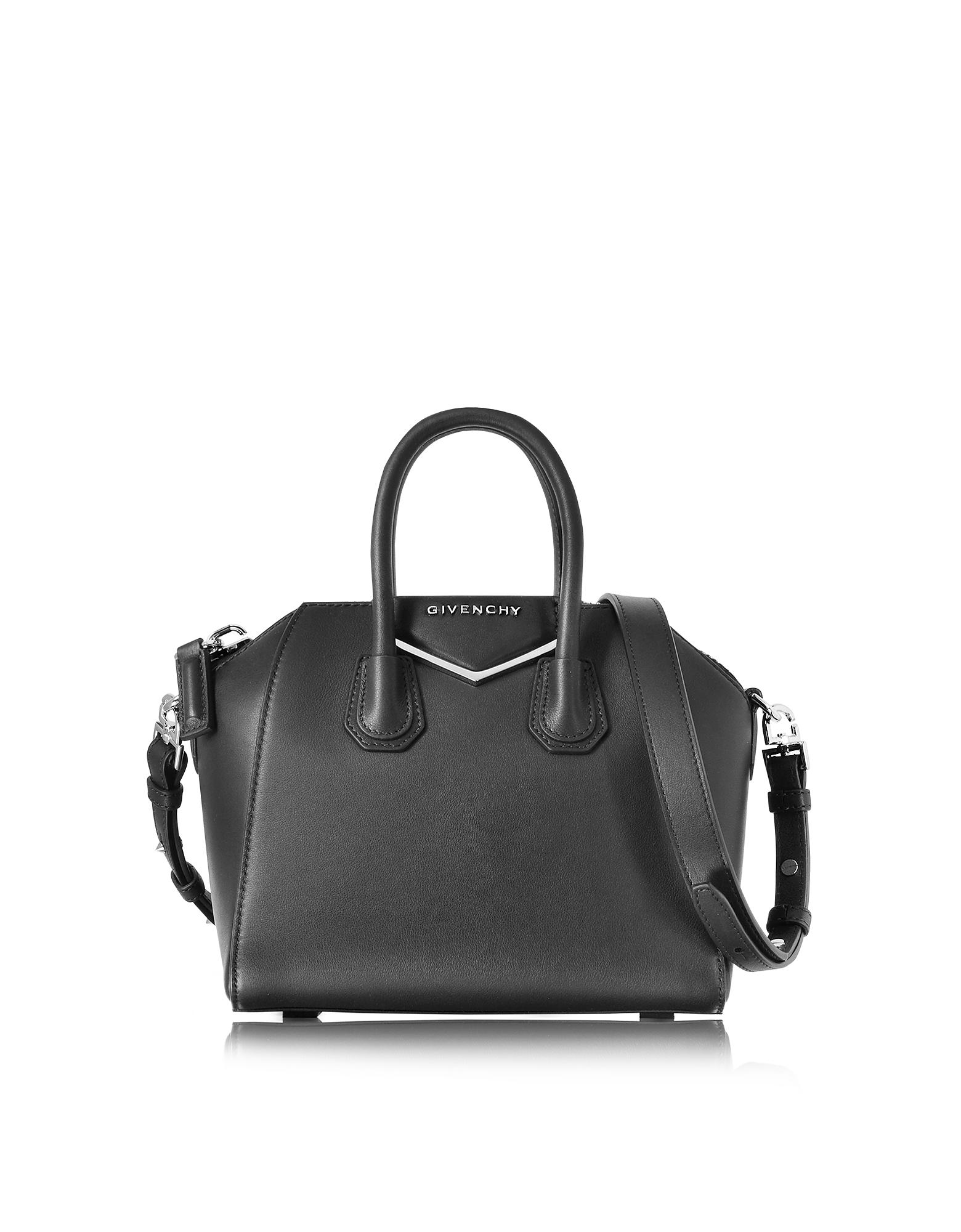 Antigona Mini Metal Black Leather Satchel bag от Forzieri.com INT