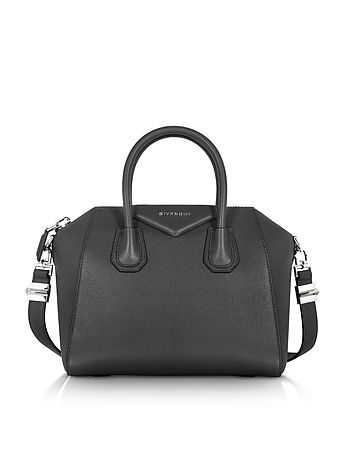 Antigona Small Black Leather Satchel Bag