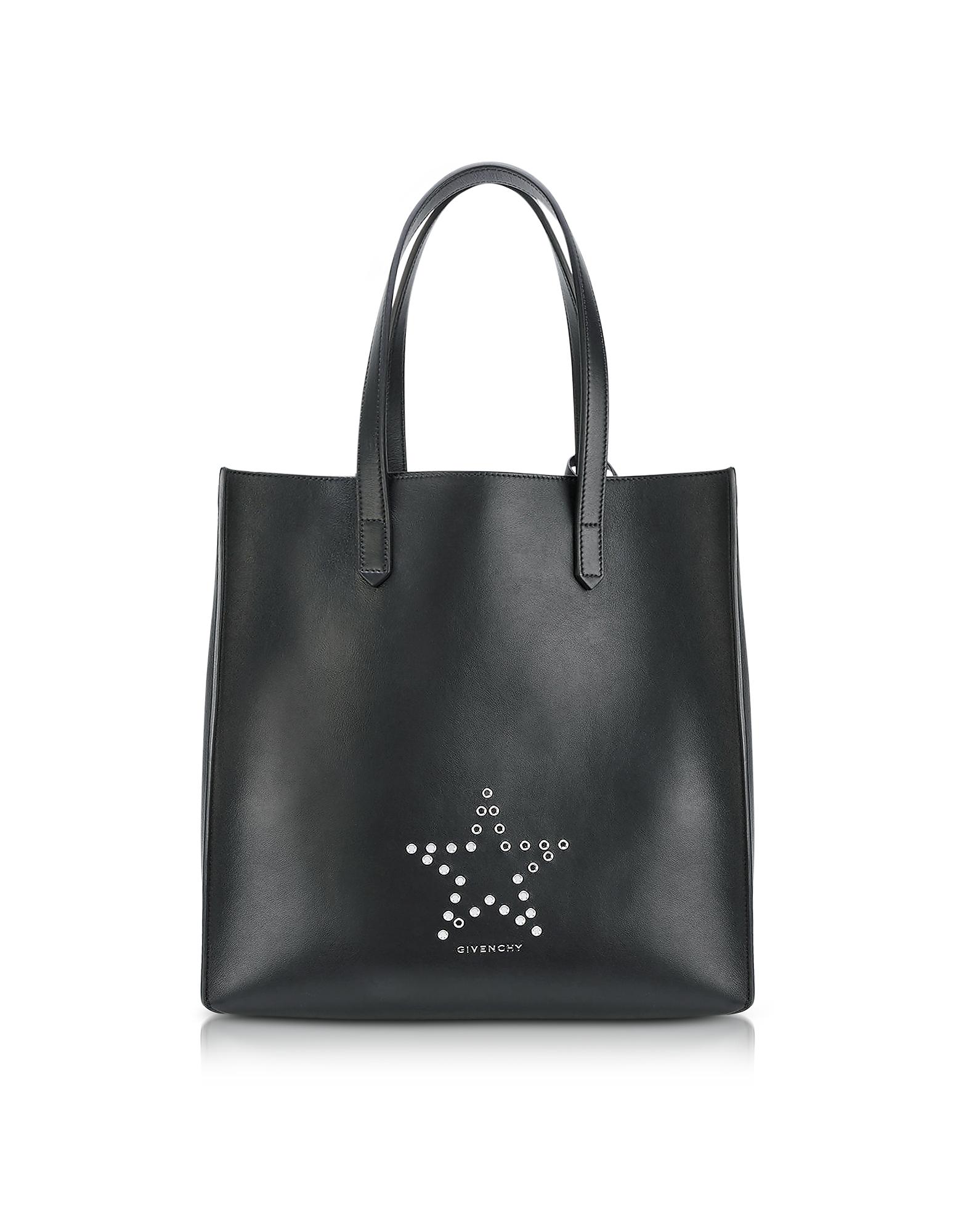 Фото Stargate Medium Black Leather Tote Bag. Купить с доставкой