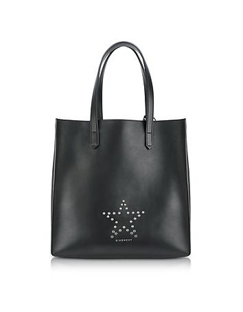 Stargate Medium Black Leather Tote Bag