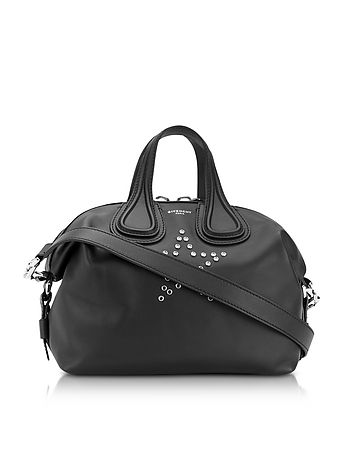 Nightingale w/Stars Black Leather Satchel Bag