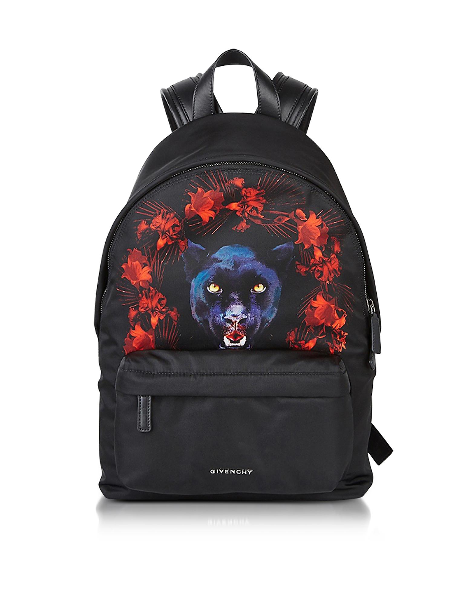 Givenchy Handbags, Black Nylon Jaguar Printed Small Backpack