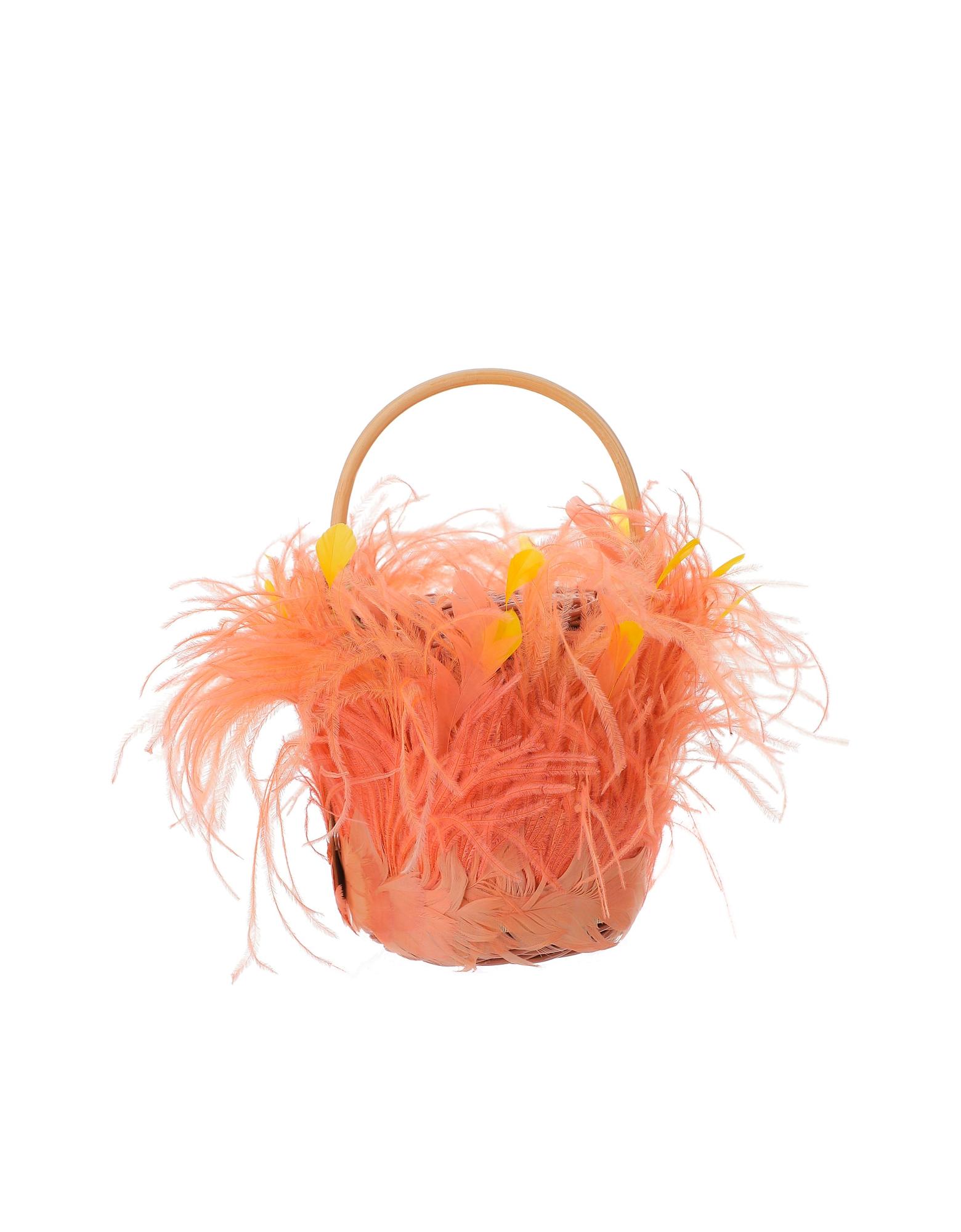 Gatti Designer Handbags, Pink & Orange Feathers Tweety Bag