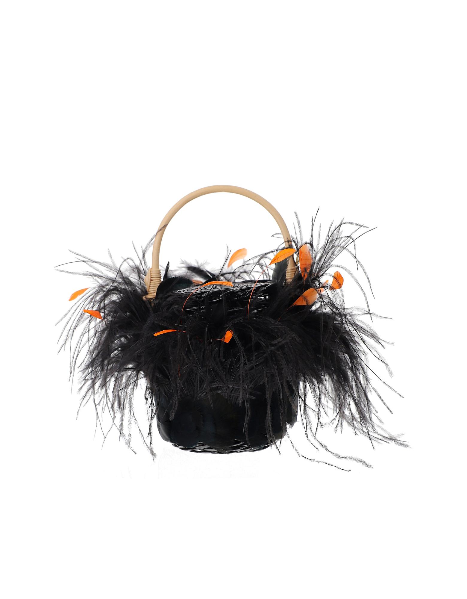 Gatti Designer Handbags, Black Feathers Tweety Bag