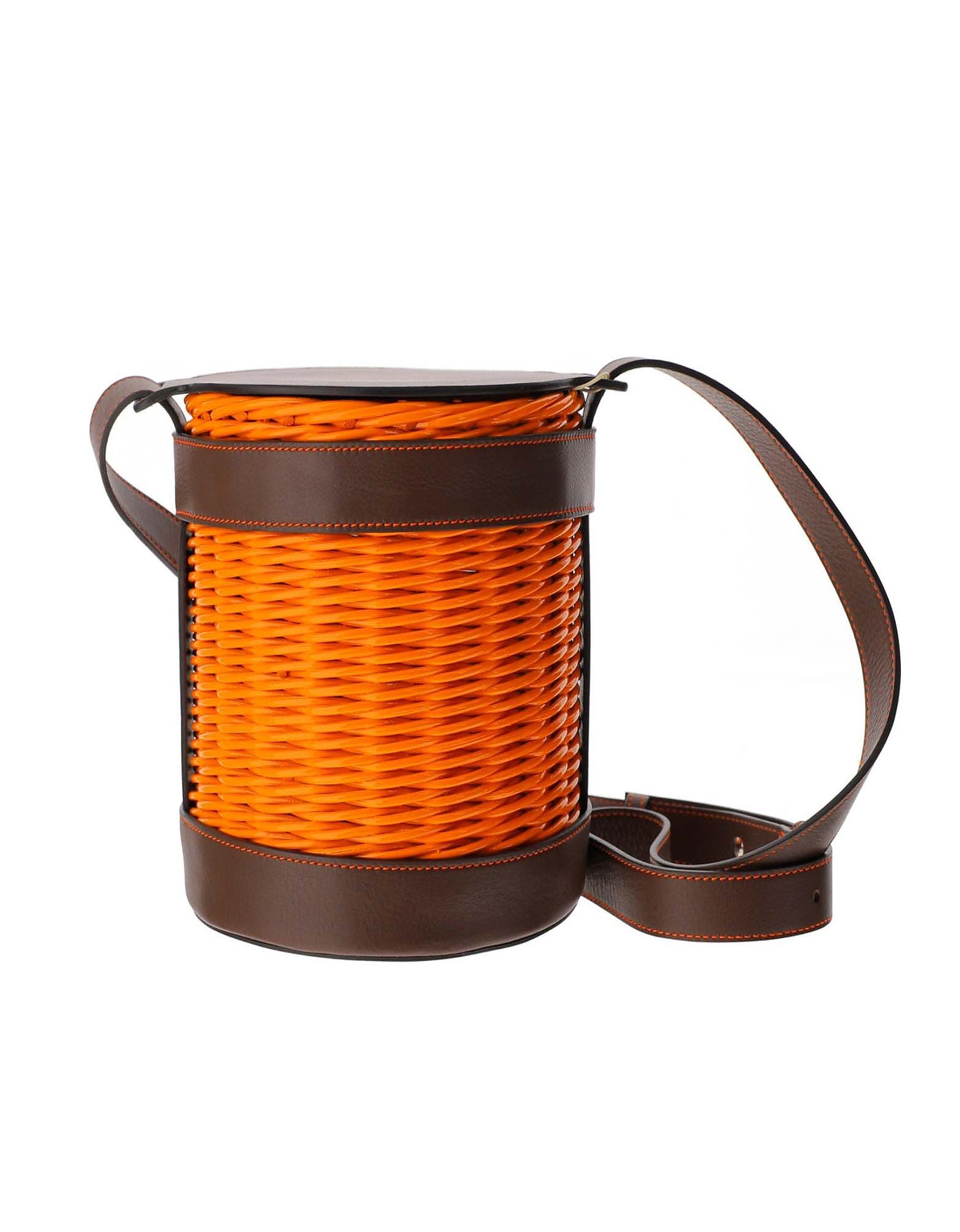 Gatti Designer Handbags, Pumpink WOven Straw and Leather Shoulder Bag