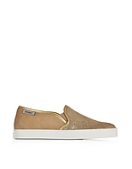 Hogan Hogan Rebel Sneaker Donna Slip on in Suede Nude e Pelle Laminata Oro - hogan - it.forzieri.com
