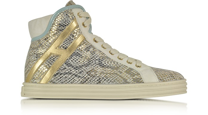 Multicolor Snake Print Leather High Top Sneaker - Hogan Rebel