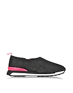 Hogan Hogan Rebel Slip-on Sneaker Running R261 Donna in Lurex Nero/Fucsia - hogan - it.forzieri.com