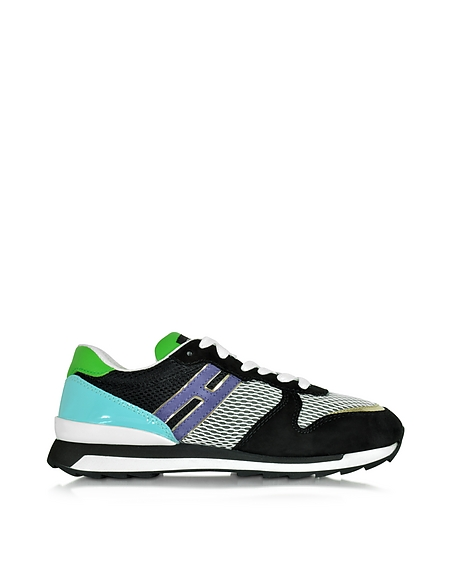 Foto Hogan Rebel Hogan Rebel Sneaker R261 da Donna in Vernice Verde/Turchese e Suede Nero Scarpe