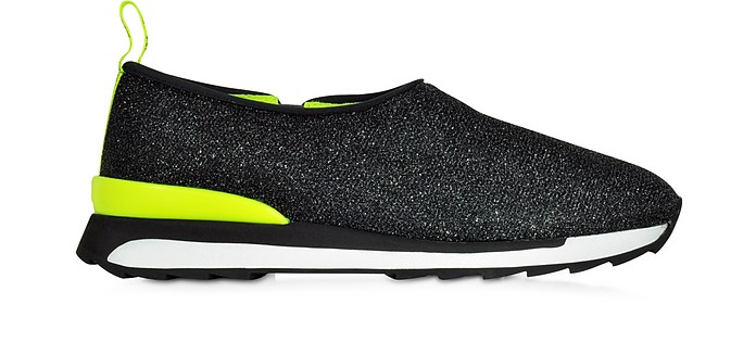 Hogan Rebel R261 Black Lurex and Neon Yellow Fabric Slip-on Sneaker - Hogan Rebel