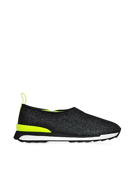 Foto Hogan Rebel Hogan Rebel Slip-on Sneaker Running R261 Donna in Lurex Nero/Giallo Fluo Scarpe