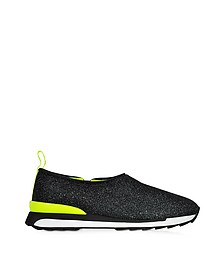 Hogan Rebel Slip-on Sneaker Running R261 Donna in Lurex Nero/Giallo Fluo - Hogan Rebel