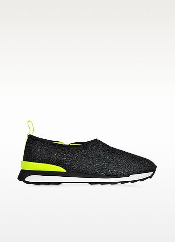 Hogan Rebel R261 Black Lurex and Neon Yellow Fabric Slip-on Sneaker - Hogan Rebel