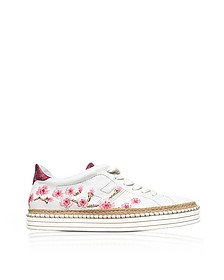 R260 Floral Embroidered Leather Sneakers - Hogan