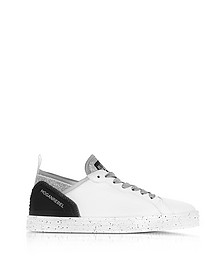 R141 White Leather and Lurex Low Top Sneakers - Hogan