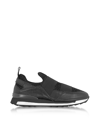 Hogan - Black Leather and Lurex Slip-on Sneakers