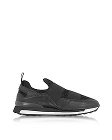Black Leather and Lurex Slip-on Sneakers - Hogan