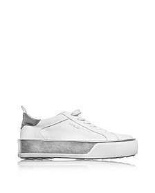 Optic White and Silver Laminated Leather Low Top Sneakers - Hogan