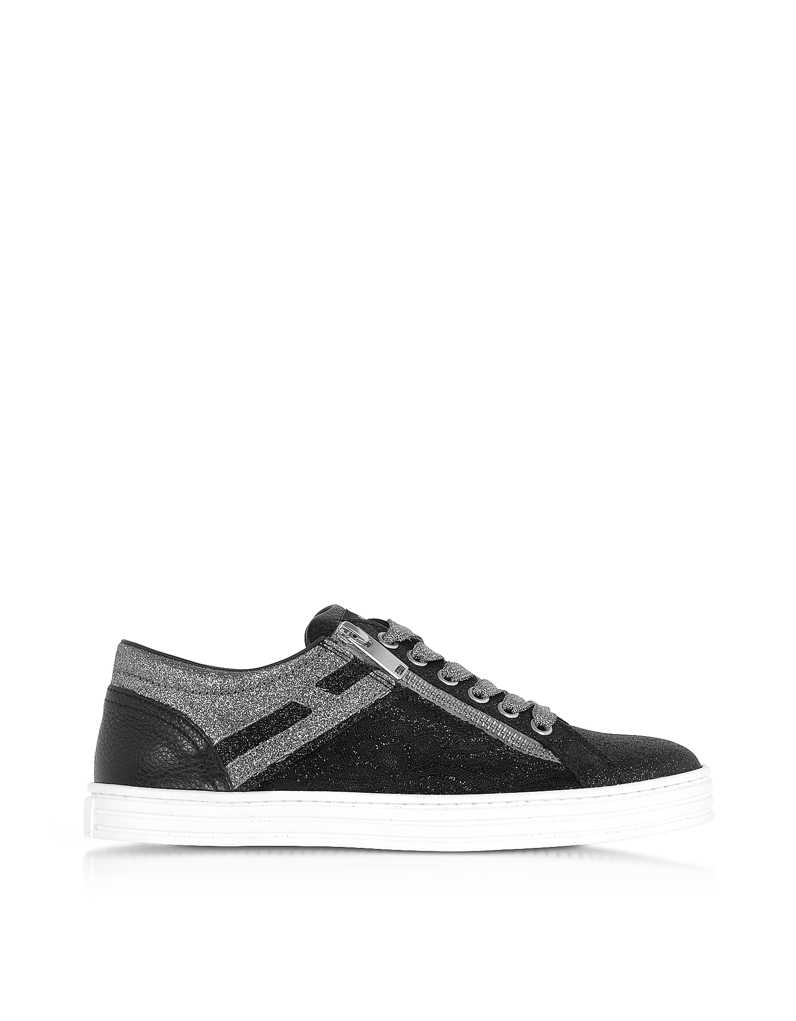 Hogan Shoes, Black and Silver Glittered Canvas Low Top Sneakers