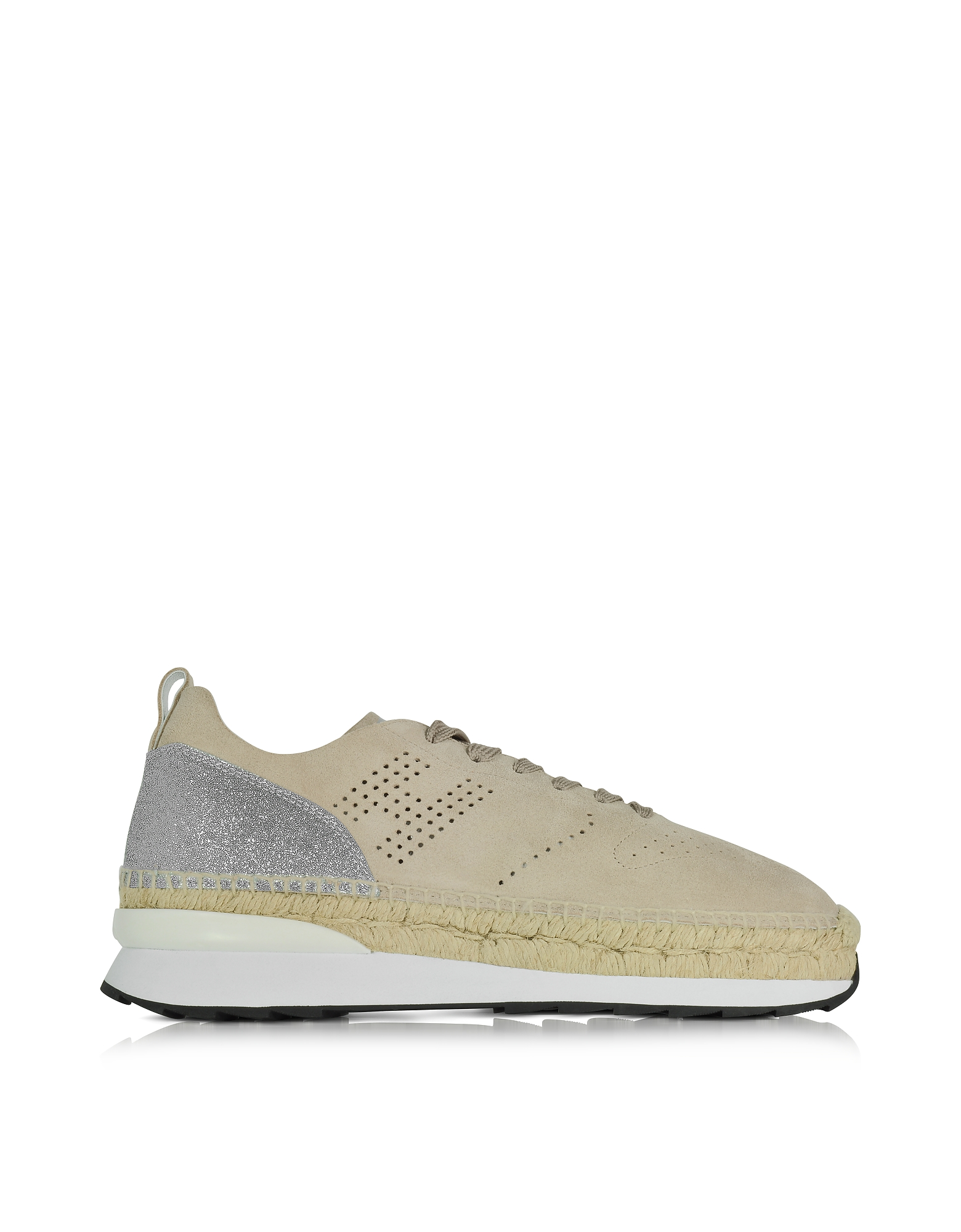 Hogan Shoes, Beige Perforated Suede Lace Up Sneakers w/Glitter