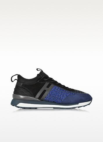 Black & Dark Blue Fabric and Suede Sneaker - Hogan Rebel
